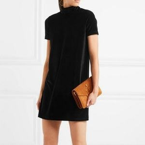 Madewell black velvet turtleneck t-shirt dress
